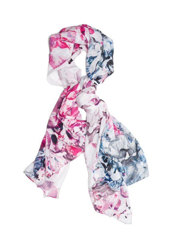 The tie-dye feel looks super cool against the traditional floral patterns. Rebecca Minkoff Floral Explosion Silk Scarf ($210)