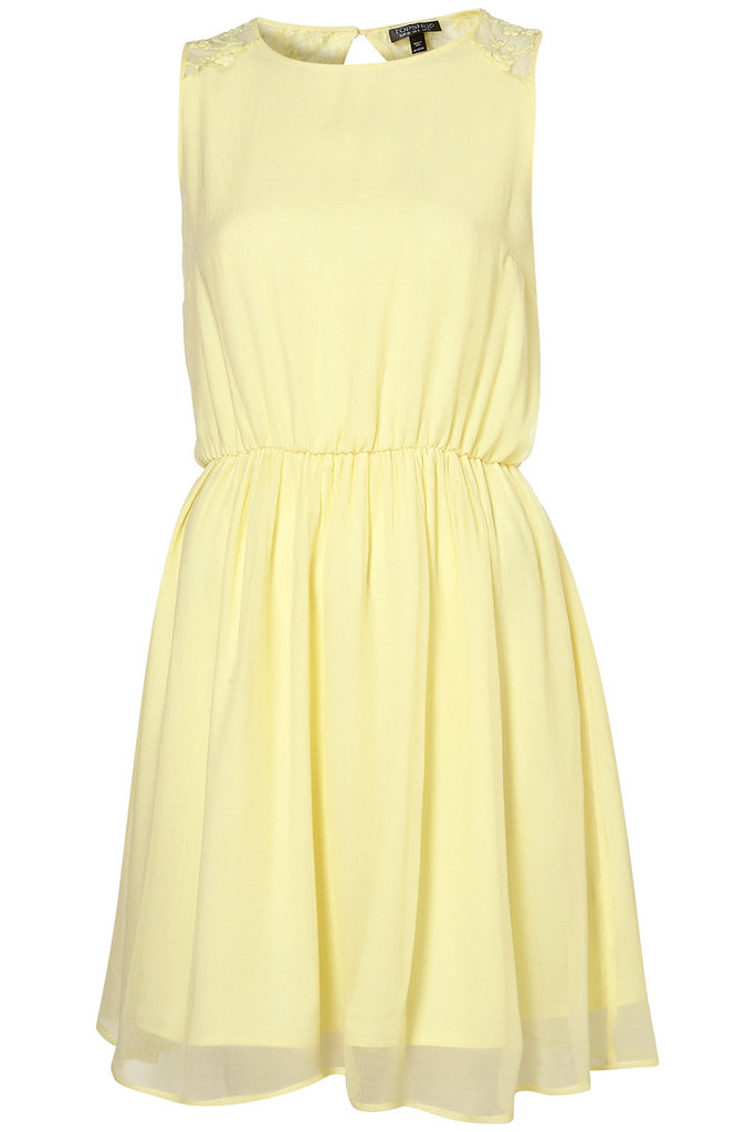 We love the pastel hue and the super-flattering fit-and-flare shape.  Topshop Floral Mesh Back Flippy Dress ($72)