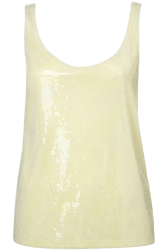 We'll be wearing this pale sequin tank with boyfriend jeans and a cardigan.  Topshop Sequin Double Layer Vest ($50)