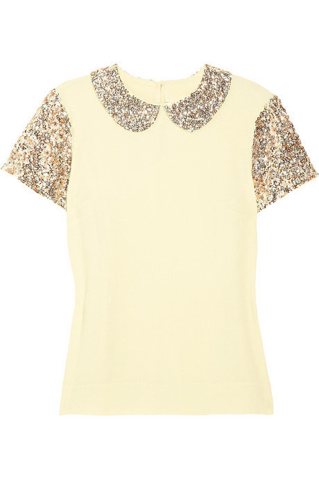Get a hint of sparkle by adding this collared tee with trousers.  By Malene Birger Ilyas Sequined Crepe Top ($595)