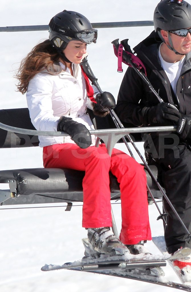 Kate Middleton surveyed the mountain below while on the chairlift in France.