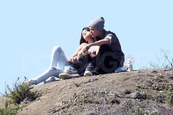 Justin Bieber and Selena Gomez relaxed in the sun.