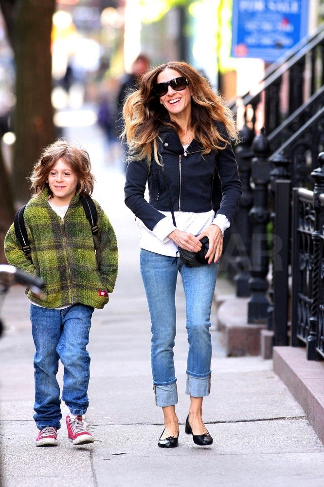 Sarah Jessica Parker looked stylish as she and her son James Wilkie Broderick walked down the street in NYC.