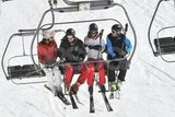 Carole Middleton, Prince William, Kate Middleton, and James Middleton rode the chairlift while vacationing as a family in France.