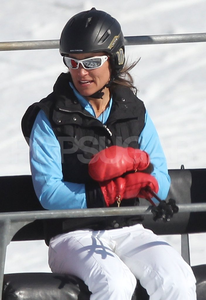 Pippa Middleton wore white sunglasses while skiing with her family on vacation in France.