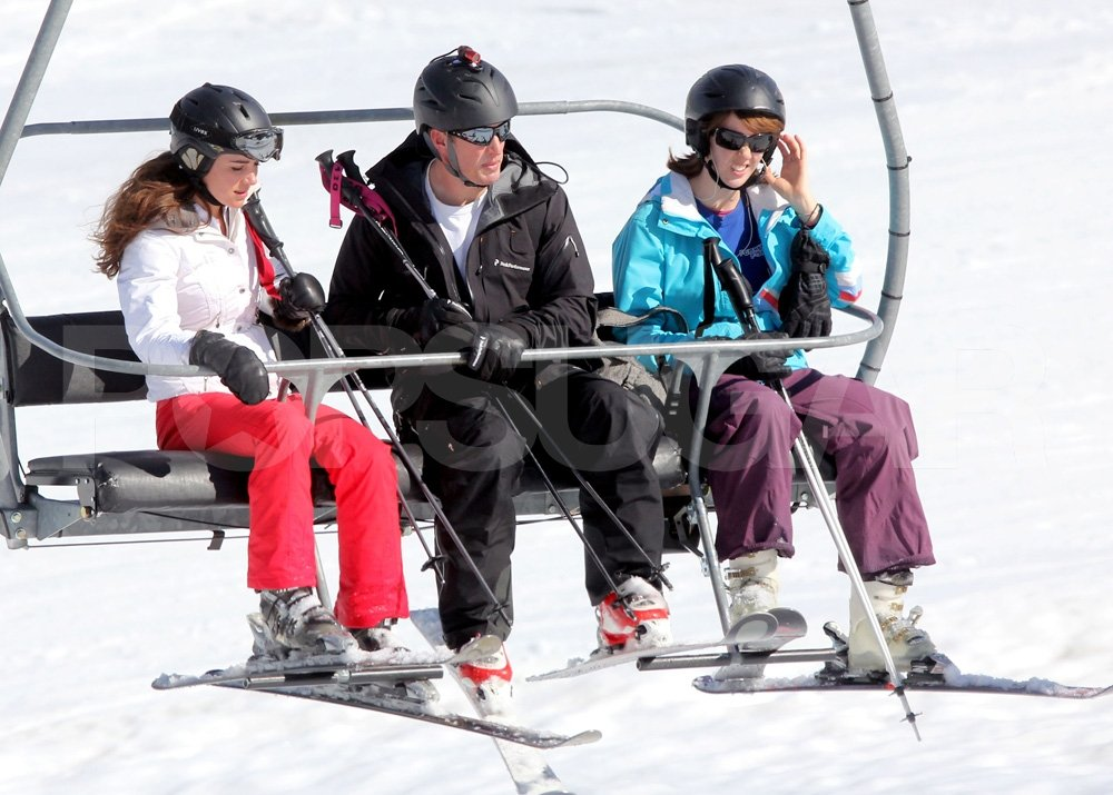 Kate Middleton lifted her goggles while riding up the chairlift in France.