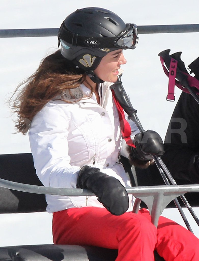 Kate Middleton had a laugh on the chairlift on her way up the mountain in France.