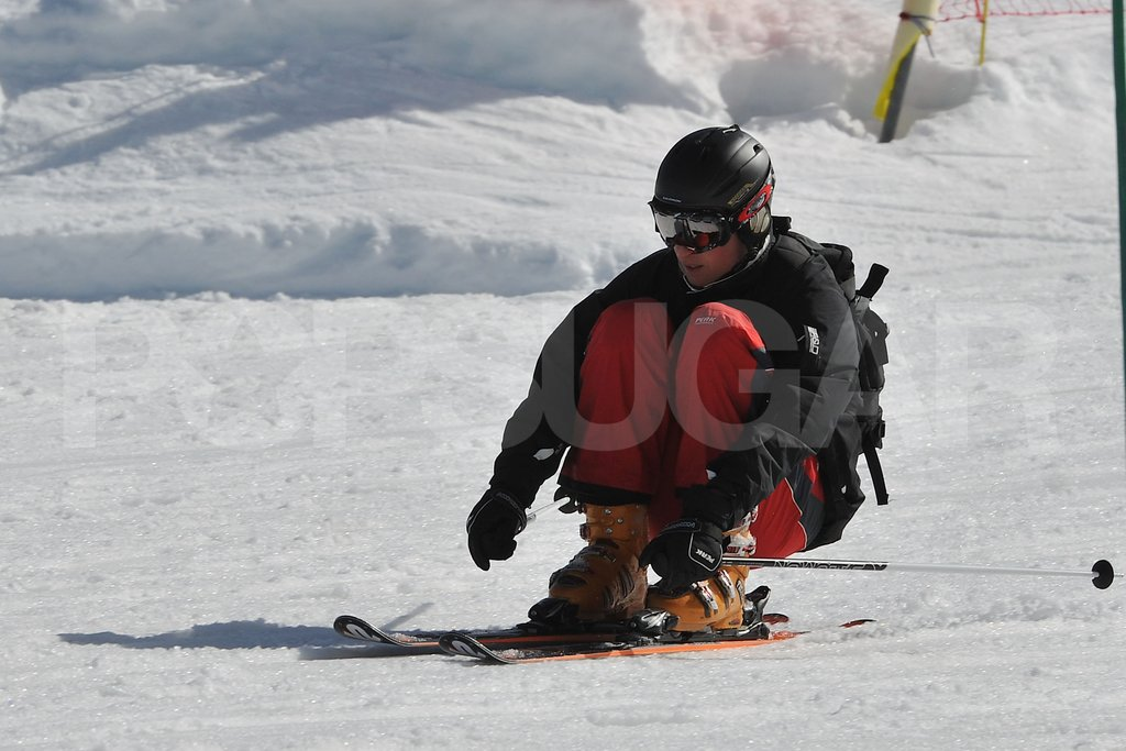 Prince William nearly sat on his skis as he made his way down the slopes in France.