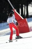 Kate Middleton wore a white jacket and red pants while skiing on vacation with her family in France.