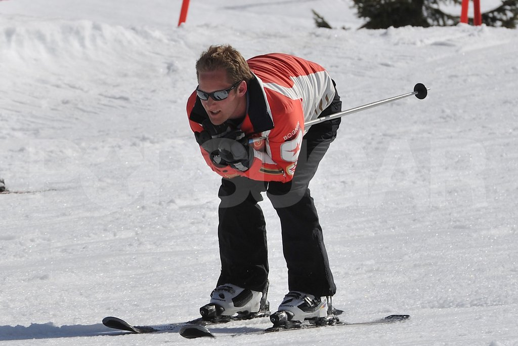 George Percy showed off his skiing abilities in France.