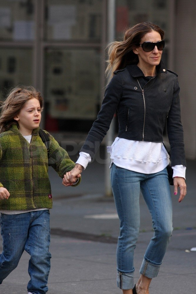 Sarah Jessica Parker and son James Wilkie Broderick walked down the street together in NYC.