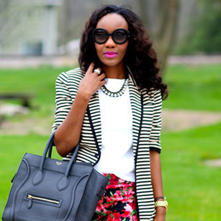 Striped Blazer and Floral Pants Street Style