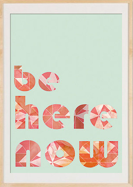 Wise words we could all use come in the form of this lovely Be Here Now Meditation Collage Poster Print ($14). The funky geometric letters and the combination of colors set the stage for a tranquil print.