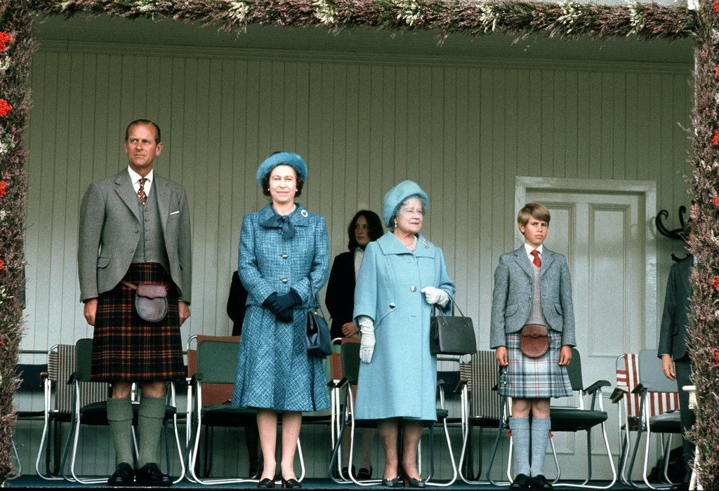 Queen Elizabeth II, her mother, Prince Philip, and Prince Charles attended Scotland's Braemar Gathering in 1975.