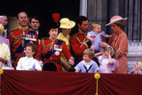 The royal family — including baby Harry — watched from the balcony of Buckingham Palace during the Trooping the Colour ceremony in 1985.