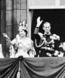The pair waved at the crowd after Elizabeth was crowned at Westminster Abbey in 1953.