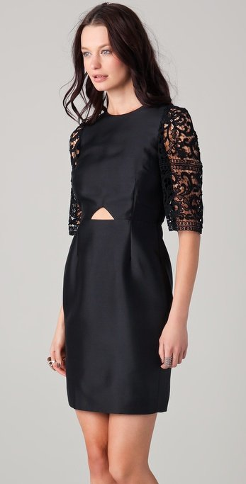 Ellery cutaway dress with lace sleeves ($750)