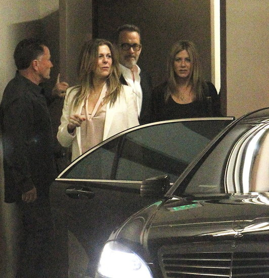 Jennifer Aniston left Katsuya with Tom Hanks and Rita Wilson.