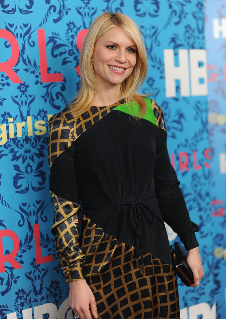 Claire Danes on the carpet of HBO's Girls premiere in NYC.