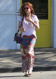 Isla Fisher left a hair salon in LA.