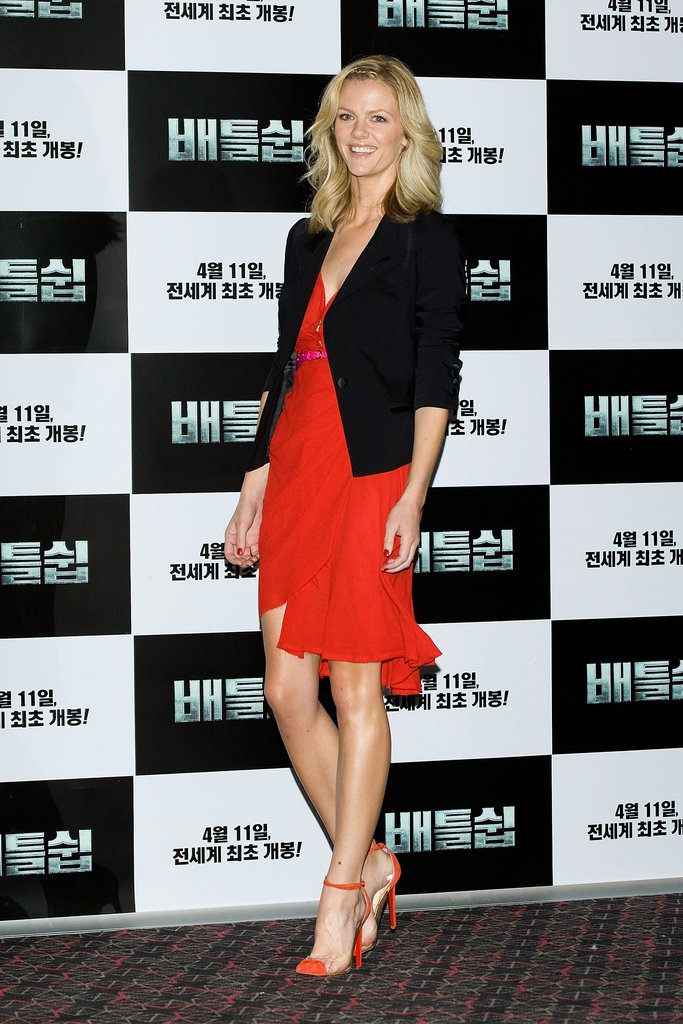 Brooklyn hit the film's Seoul press conference in a gorgeous red dress by Katie Ermilio and a sophisticated blazer.