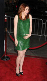 On March 23, Alyson Hannigan was all aglow at the Los Angeles premiere of American Reunion. Her green shift dress and sky-high heels flattered her toned legs.
