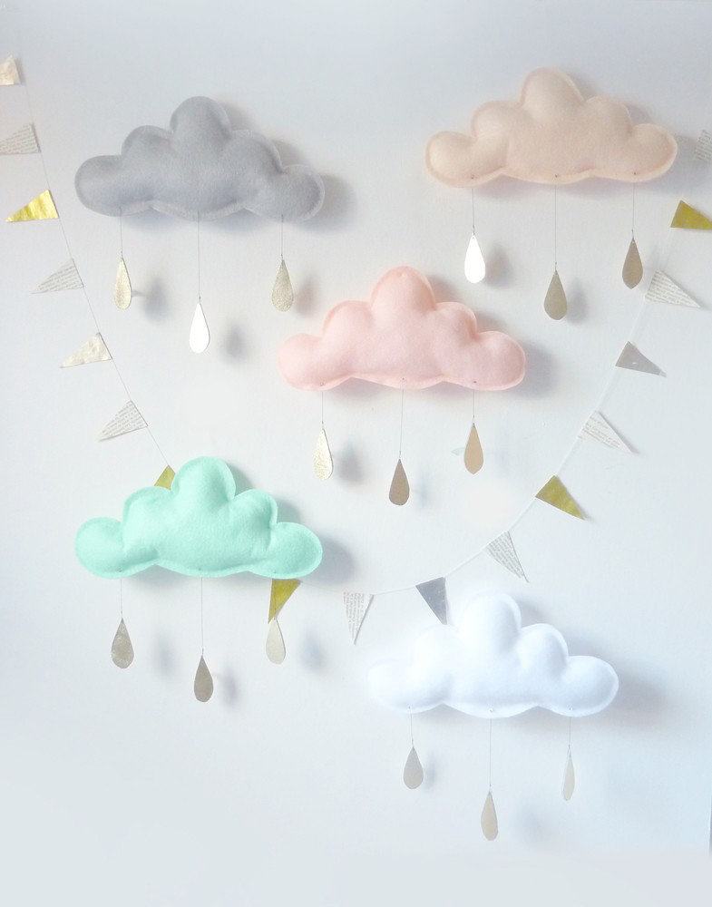 Five Pastel Rain Cloud Mobiles ($170)