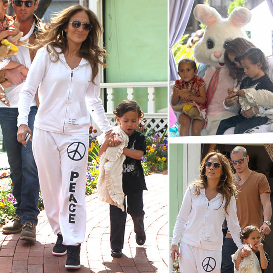Jennifer Lopez Takes the Twins to Meet the Easter Bunny in West Hollywood on Thursday (April 5).