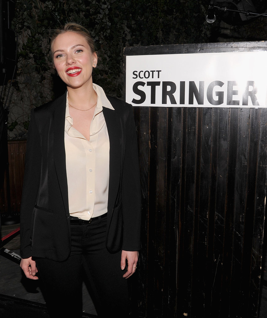 Scarlett Johansson wore a black pantsuit to host a party for 2013 NYC mayoral candidate Scott Stringer at the Maritime Hotel in NYC.