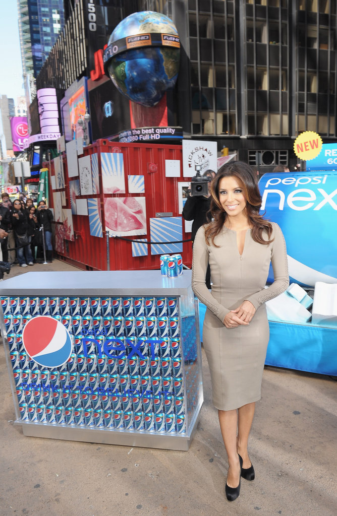 Eva Longoria drew a crowd in Times Square at the Pepsi Next, Drink It to Believe It event.
