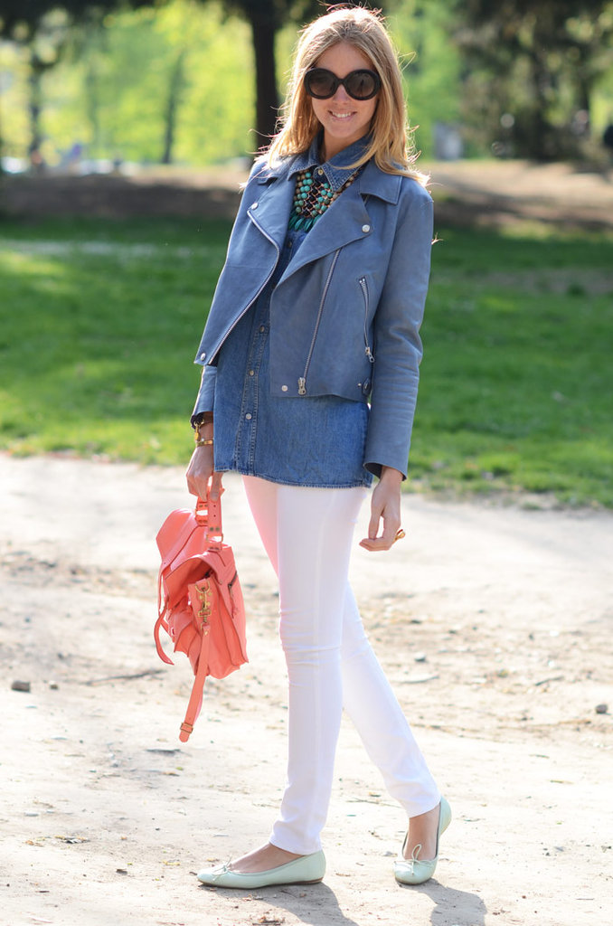 We love how Chiara Ferragni contrasted her denim with pastel touches via mint-green ballet flats and a coral Proenza Schouler bag.  Photo courtesy of The Blonde Salad