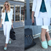 This street styler contrasted her patent loafers with a sharp white blazer, cropped pants, and a dark teal blouse. We'd love to try out this look for a casual Friday work day.