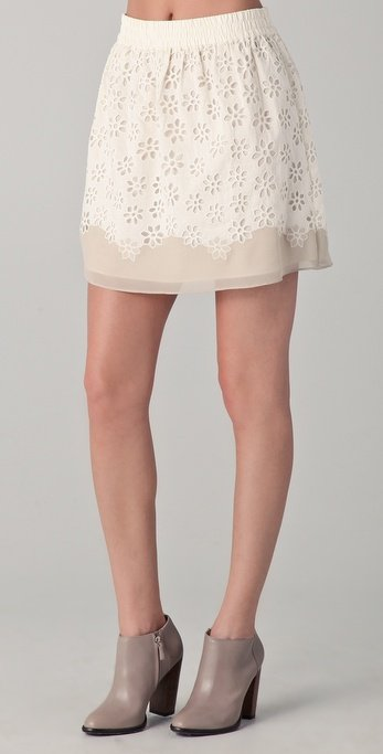 Sweet eyelet detailing makes this an ultrapretty mini that's perfect for pairing with anything from a pastel sweater to a denim button-down.  Club Monaco Lorie Skirt ($148)