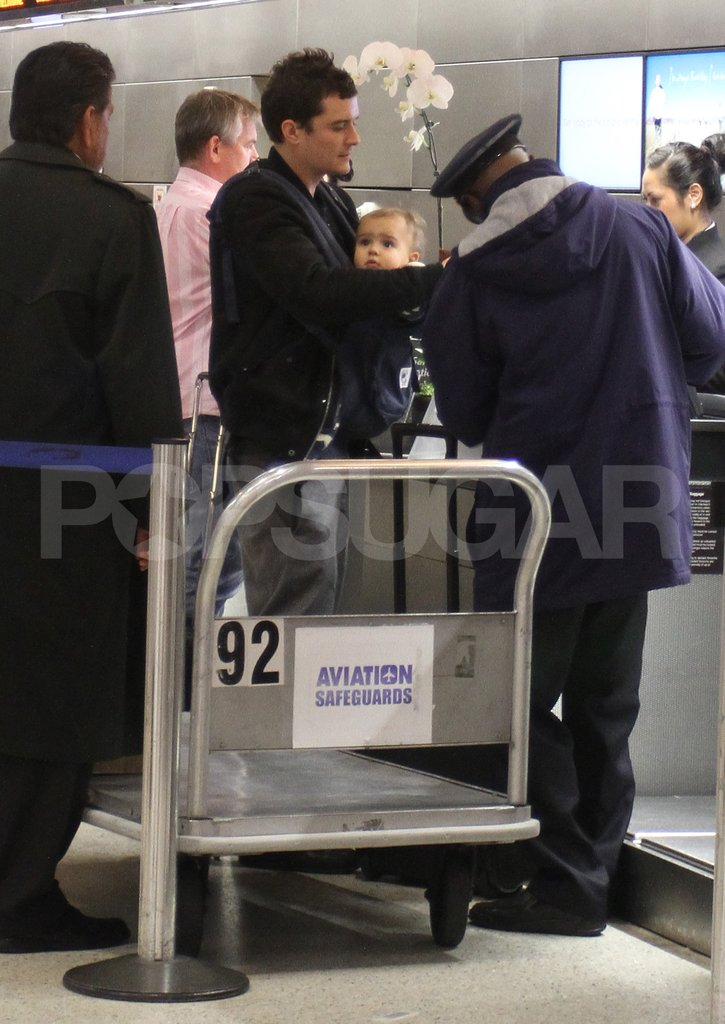 Orlando Bloom and son Flynn Bloom checked in for a flight.