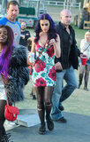 Katy Perry wore a floral dress at the festival on Sunday.