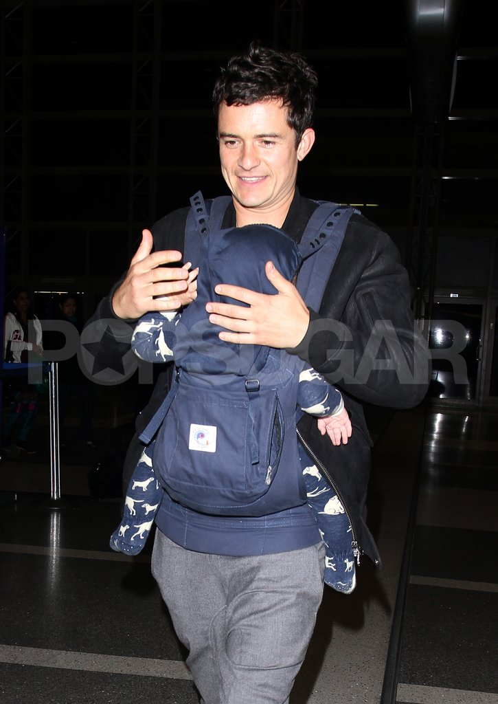 Orlando Bloom and son Flynn Bloom arrived at LAX and were ready for takeoff.