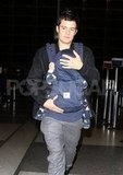 Orlando Bloom arrived with son Flynn Bloom at LAX.