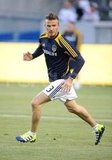 David Beckham warmed up for a Galaxy game.