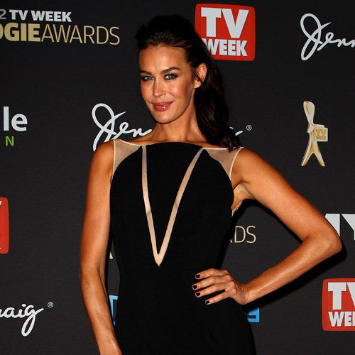 Megan Gale Pictures in Black Alex Perry Dress at 2012 Logies