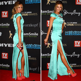 Pictures of Jennifer Hawkins on the 2012 Logies Red Carpet in Sexy Thigh Split Turquoise Gown: Rate It or Hate It?