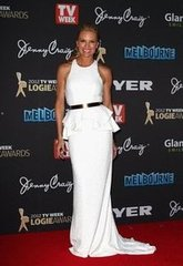 Pictures of Sonia Kruger in Manning Cartell White Gown on the Red Carpet at the 2012 Logies