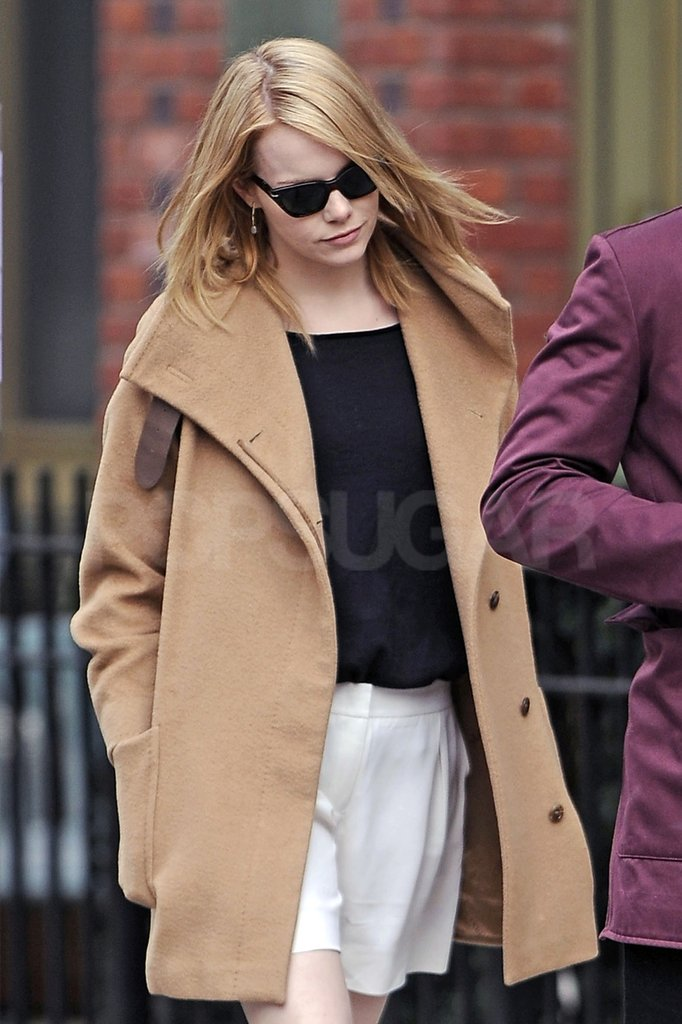 Emma Stone showed off her newly blond locks in NYC.