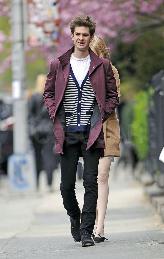 Andrew Garfield led the way with girlfriend Emma Stone close behind.