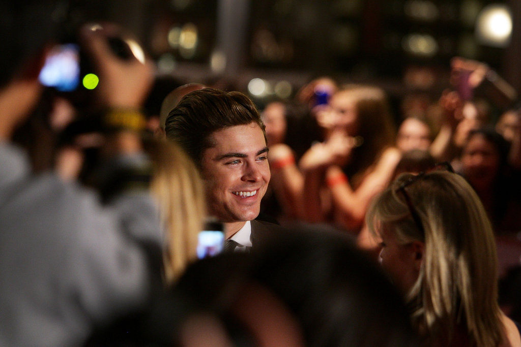 Zac Efron was greeted at the premiere by tons of fans.