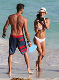 Brooke Burke and David Charvet continued their St. Barts vacation after a surprise wedding there in August 2011.