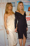 Goldie Hawn and Kate Hudson held hands at the third annual Tribeca Film Festival Raising Helen red carpet in May 2004.