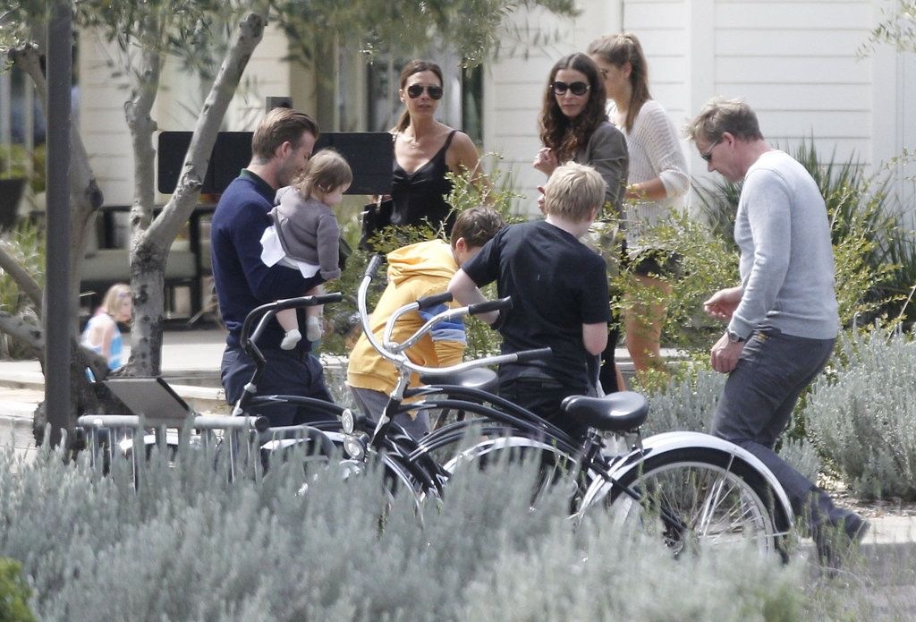 Victoria Beckham and David Beckham and family spent Easter with the Ramsay family in Napa.