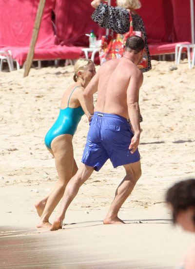 Naomi Watts and Liev Schreiber enjoyed each other's company on the beach in Barbados.