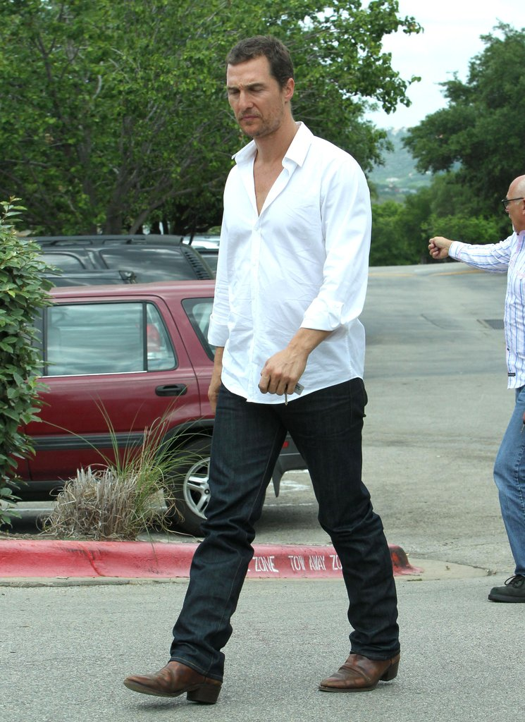 Matthew McConaughey went out to lunch with wife Camila Alves and son Levi on Easter Sunday in Texas.