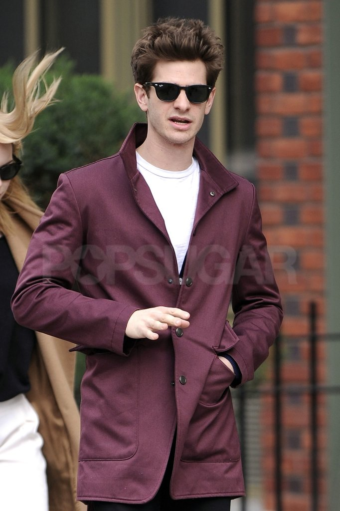 Andrew Garfield looked handsome in a maroon jacket and Wayfarer shades.